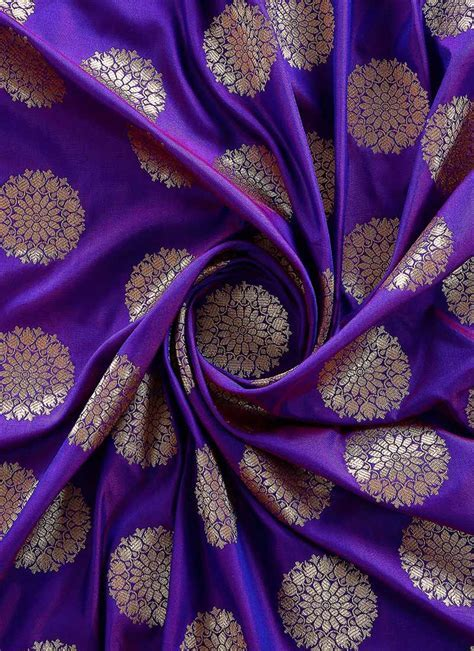 Buy Violet Art Silk Fabric, Zari, blended patterned Online