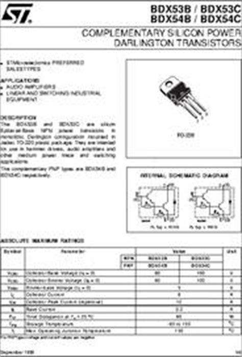 darlington transistor part number bdx53 datasheet complementary silicon power darlington transistor
