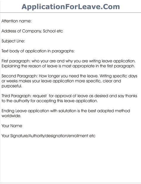 school leave application for vacation leave application template