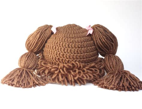 cabbage patch hat with pigtails free pattern cabbage patch hat cabbage patch wig crochet cabbage patch