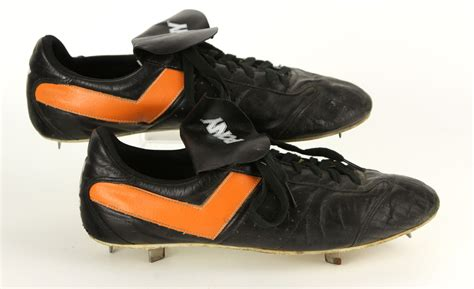 pony football shoes lot detail 1980 s pony black orange worn baseball
