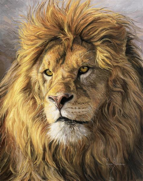 lion print portrait of a lion print by lucie bilodeau