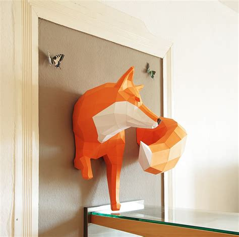 3d paper fox by all things paper via flickr visual