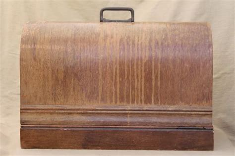 antique bentwood wood sewing machine cover case