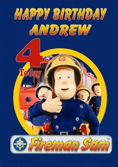 Fireman Sam Birthday Card Personalised Fireman Sam Birthday Card Design 1