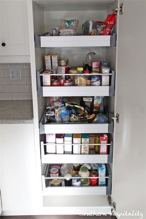 ikea roll out shelves pantry with food
