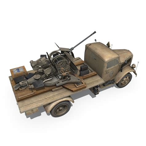 opel blitz with flak 38 opel blitz with 2cm flak 38 dak 3d model flatpyramid