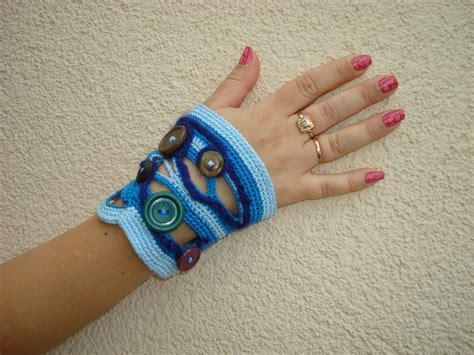 Handmade Wrist - crochet freeform cuff bracelet ooak jewelry lace wrist