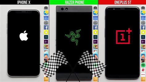 amazon quiz oneplus 5t iphone x vs razer phone vs oneplus 5t speed test youtube