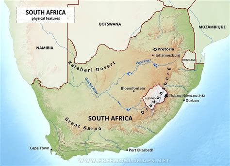 south africa physical map south africa physical map