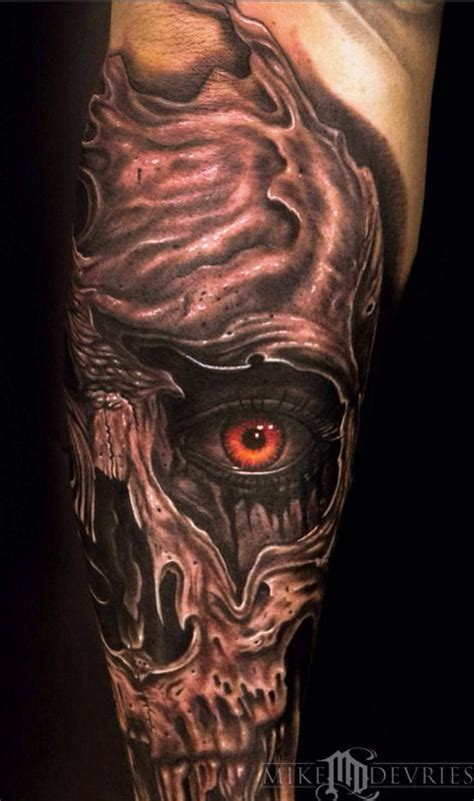 eye tattoo with skull skull eye tattoo by mike devries tattoonow