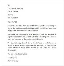 Contract End Letter Thank You Sle Thank You For Your Business Letter 9 Documents In Pdf Word