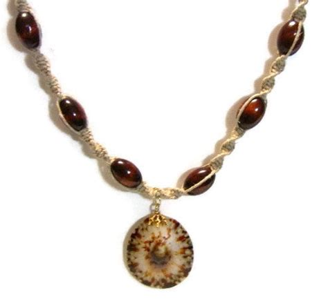 hemp necklace with hemp necklace with wood and shell pendant
