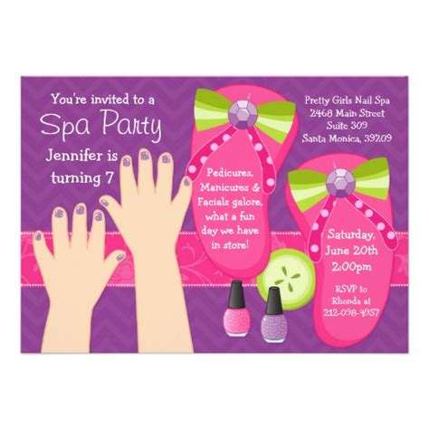 spa birthday invitation template pedi spa birthday invitation zazzle