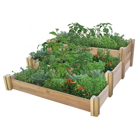 home depot garden bed gronomics 48 in x 50 in x 19 in multi level rustic