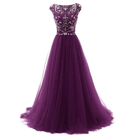 Longdress Cap purple evening dress with cap sleeves prom dresses