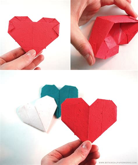 Origami Valentines Day - craft origami seed paper s day hearts that