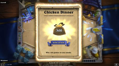 Can You Gift Card Packs In Hearthstone - blizzplanet hearthstone chicken dinner achievement win 100 games in any mode