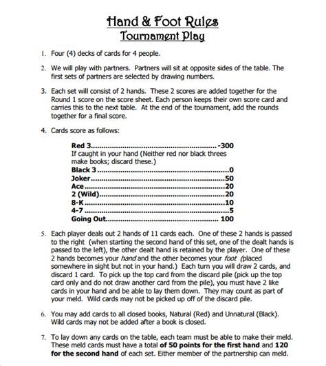printable card game rules sle hand and foot score sheet 6 documents in pdf word