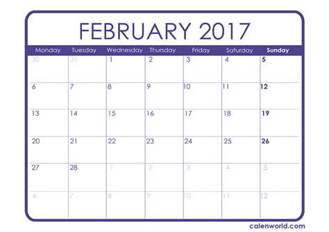 Feb Calendar February 2017 Calendar Printable Calendars