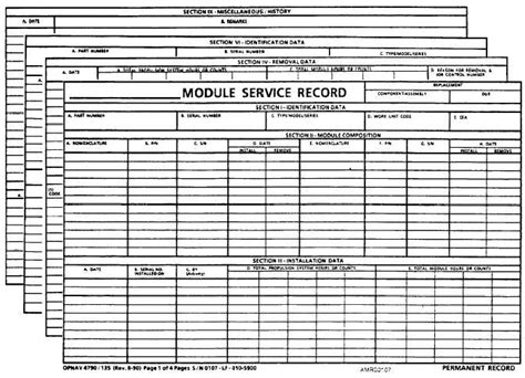 Navy Maintenance Requirement Card Template by Scheduled Removal Component Src Card Opnav 4790 28a