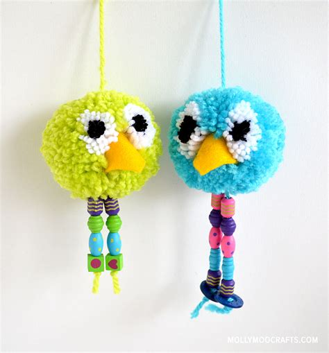crafts pom pom mollymoocrafts how to make pom pom bird craft