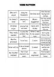 verb pattern tests english teaching worksheets verbs