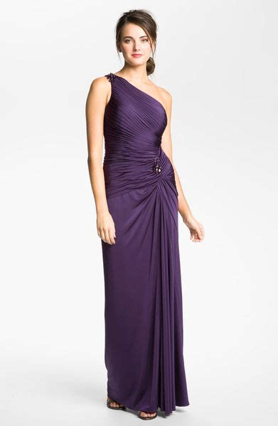 adrianna papell draped shoulder gown adrianna papell draped jersey one shoulder gown in purple