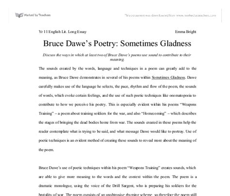 Sometimes Gladness Essay by Bruce Dawe S Poetry Sometimes Gladness Discuss The Ways In Which At Least Two Of Bruce Dawe S