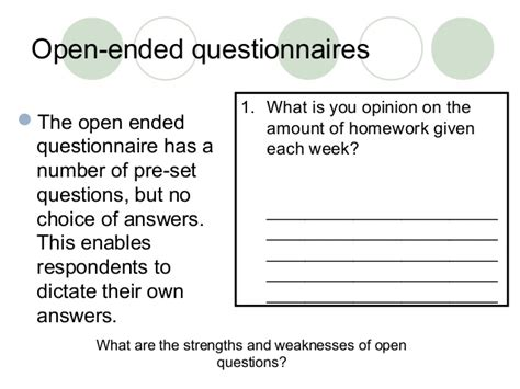Open Ended Questions In Research Papers by Questionnaires