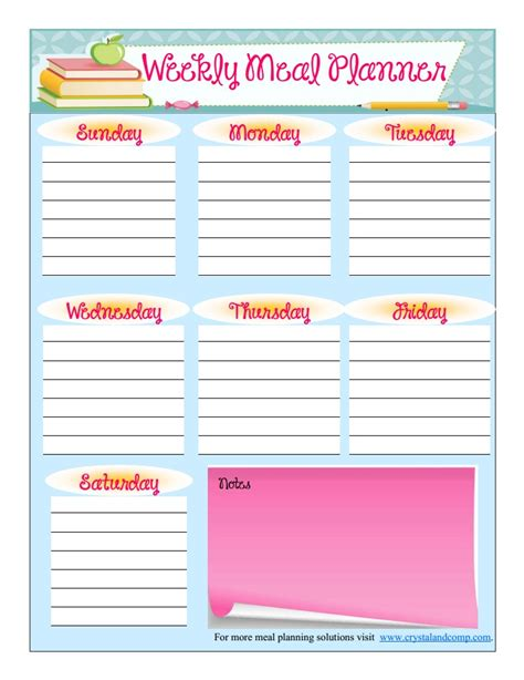 printable planner school free printable meal planner august