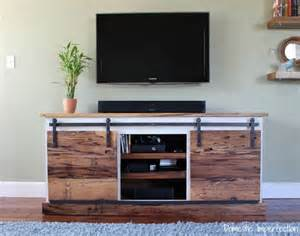 Barn Door Tv Stand Diy Sliding Door Media Center Domestic Imperfection