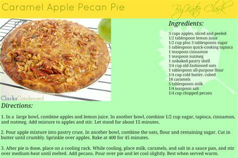 printable pie recipes caramel pecan apple pie