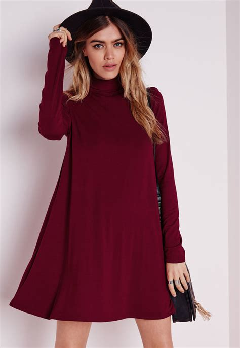 Missguided Roll Neck Long Sleeve Jersey Swing Dress