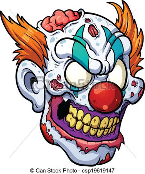 eps vector of zombie clown head vector clip art