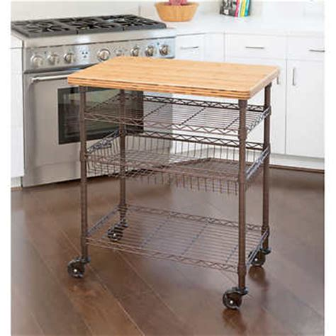 Seville Classics Kitchen Utility Cart With Bamboo Top by Seville Classics 174 Professional Chef S Kitchen Cart With