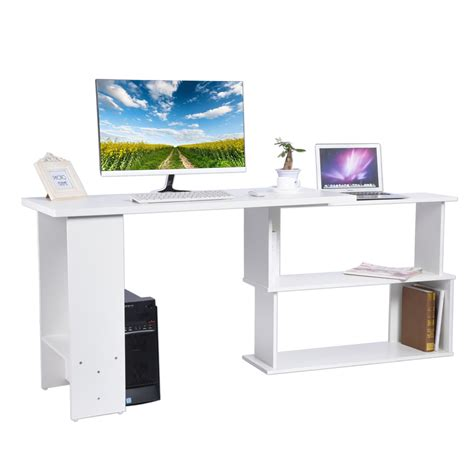 manhattan open computer desk with adjustable shelf white l shape white corner pc computer office desk home study