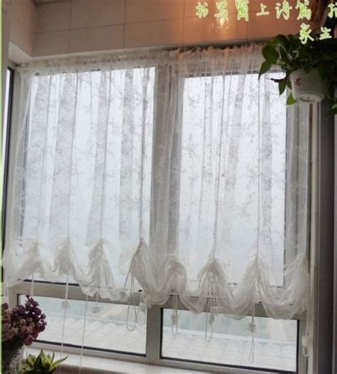 pull curtains victorian style white lace adjustable balloon pull up