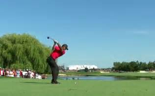 tiger woods back swing swinging hazard tiger woods drops to the ground in