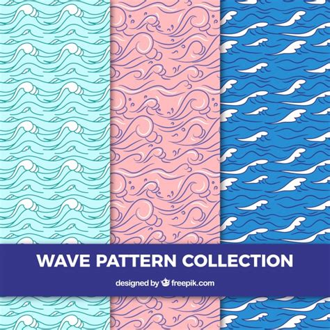 wave pattern vector ai three wave patterns in hand drawn style vector free download