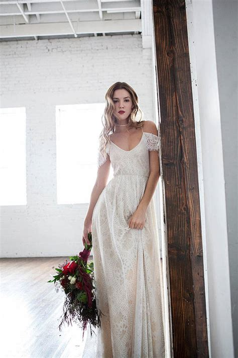 Vintage Hippie Wedding Dresses by Shoulder Wedding Dress Boho Wedding Dress Hippie Wedding