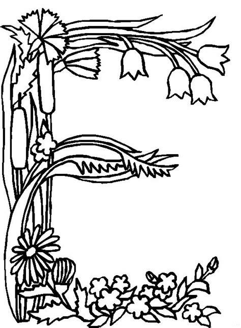 coloring page alphabet flower e coloring me