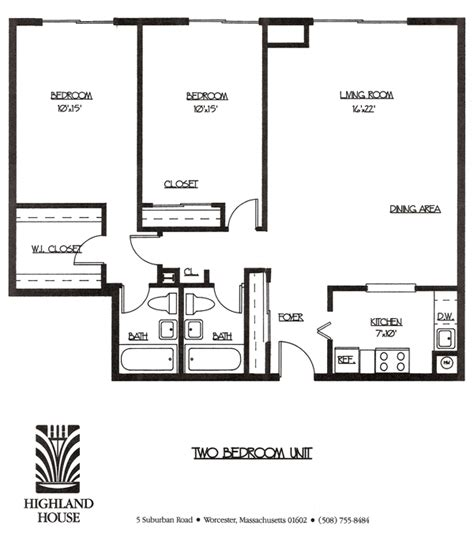 2 bedroom layout plan highland house apartments worcester ma 1 and 2 bedroom