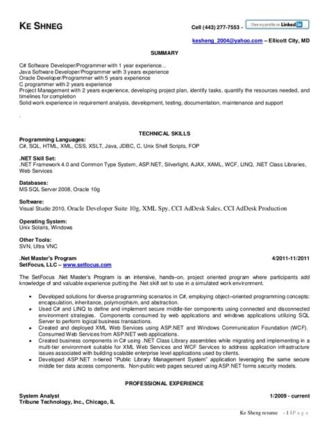 Net Developer Resume by Net Developer Resume Resume Templates