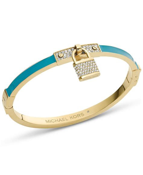michael kors gold tone turquoise pave padlock bangle