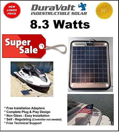 boat battery chargers information duravolt marine solar panel battery charger 8 3 watt