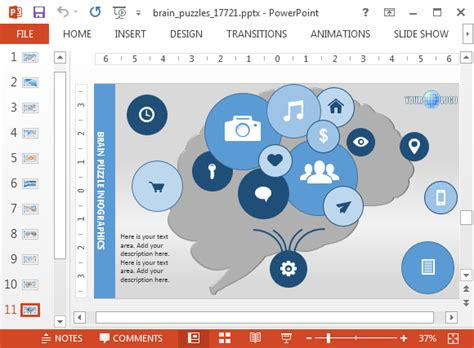 powerpoint themes psychology psicologia modello di powerpoint con il cervello puzzle