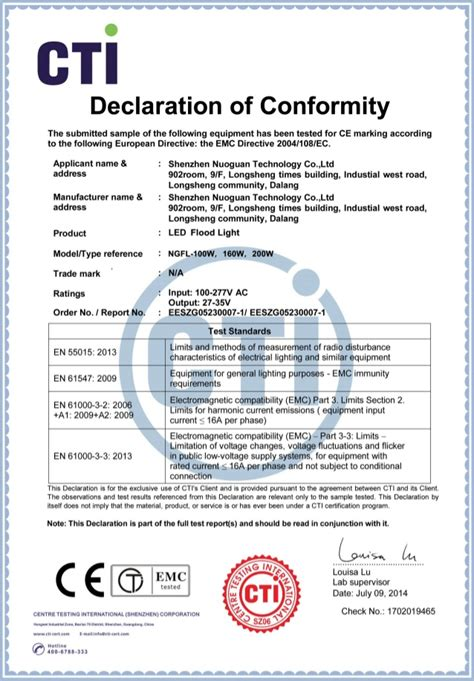 ce certificate of conformity template led flood light ce certificate