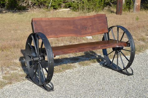 wagon wheel bench seat benches sycamore creek creations