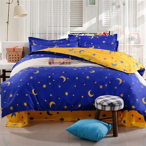 star bed fashion cartoon kid adult polyester blue star bedding sets